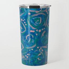 Blue Roses Baby's Breath Flowers Floral Pattern Design Love Gift Valentine's Day Travel Mug