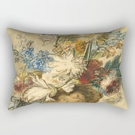 "Jan van Huysum ""Bouquet of Spring Flowers in a Terracotta Vase"" Rectangular Pillow"