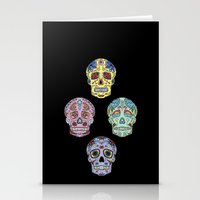 sugar skulls Stationery Cards featuring Sugar Skulls by katherinejago