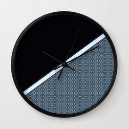 Half Dark and Half Abstract Steel Grey Geometric Striped Pattern Wall Clock