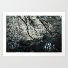 Cold colors and a touch of red Art Print