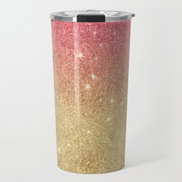 Pink abstract gold ombre glitter Travel Mug