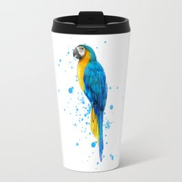 Watercolor Blue and Gold Macaw Travel Mug