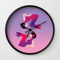 60s Wall Clocks featuring 60s Zodiac Gals: Gemini by Skart87