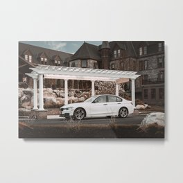 White Sports Car by the Castle (3 of 3) Metal Print