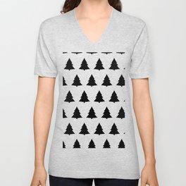 Chistmas Tree Black and White Seamless Pattern Unisex V-Neck