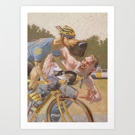 Man Chases Dog, Dog Pedals Harder Art Print