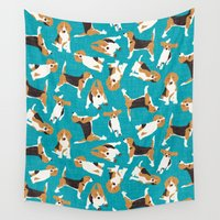 beagle Wall Tapestries featuring beagle scatter blue by Sharon Turner
