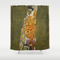 gustav klimt Shower Curtains featuring Hope II by Gustav Klimt  by Palazzo Art Gallery