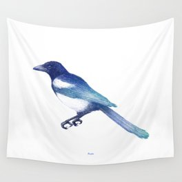 Magpie (Pica pica) - blue and turquoise Wall Tapestry
