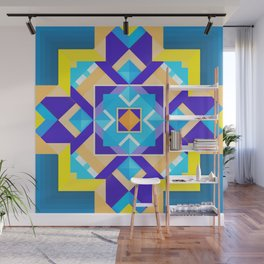 Geometric Tribal Mandala Inspired Modern Trendy Vibrant (Blue, Cobalt, Yellow, Orange, Purple) Wall Mural