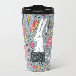 Botanical blockprint bunny Travel Mug