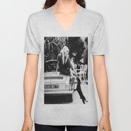 Brigitte Bardot with dog Print, Bridget Bardot Art Print, Fashion Art Print, Brigitte Bardot Print, Printable Art, Black & White Print Unisex V-Neck