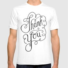 Thank you Hand Lettered Calligraphy White MEDIUM Mens Fitted Tee
