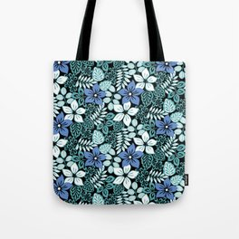 Tropical Floral Aqua Tote Bag
