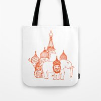 moscow Tote Bags featuring Moscow by OneOneTwo