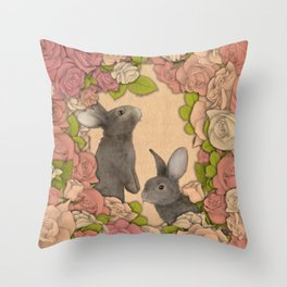 Rosie Rabbits Throw Pillow