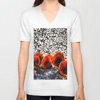mushrooms V-neck T-shirts featuring Mushrooms by Sumii Haleem