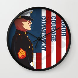 Honor, Courage & Commitment Wall Clock
