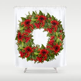 Red And Green Wreath On A White Background - Arrangement Of Flowers And Berries #decor #society6 Shower Curtain
