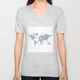 Long Distance World Map - UK to New York Unisex V-Neck