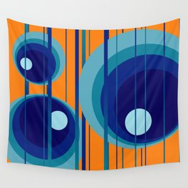 Retro Vintage Graphic Rings orange Wall Tapestry