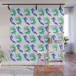Tropical Fish Pattern (blue and sea foam green palette) Wall Mural