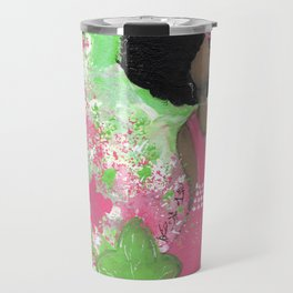 Dripping Pink and Green Angel Travel Mug