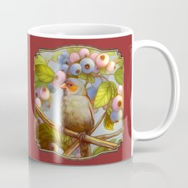 Orange cheeked waxbill finch with blueberries Coffee Mug
