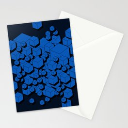 3D Cobalt blue Cubes Stationery Cards