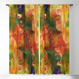 Multi Colored Yellow Green Abstract Blackout Curtain