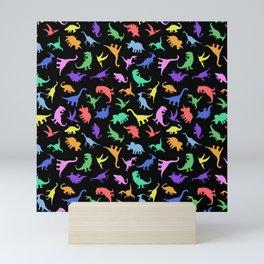 Fun Dinosaur Pattern (Black) Mini Art Print