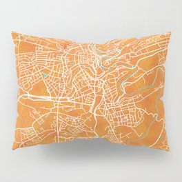 Luxembourg City, Luxembourg, Gold, Blue, City, Map Pillow Sham