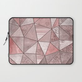 Soft Pink Coral Glamour Gemstone Triangles Laptop Sleeve