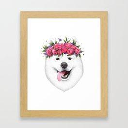 Samoyed with flowers Framed Art Print