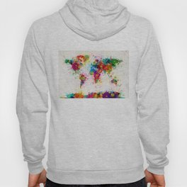 Map of the World Map Paint Splashes Hoody
