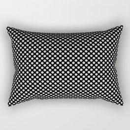 Black and Glacier Gray Polka Dots Rectangular Pillow