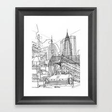 New York B&W (Dark T-shirt Version) Framed Art Print
