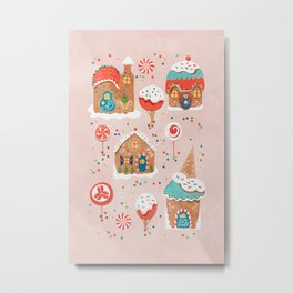 Gingerbread Candy Land on pink Metal Print