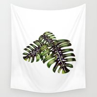 craftberrybush Wall Tapestries featuring Monstera leaf - watercolor  by craftberrybush