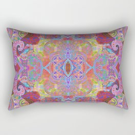 Ruby Psychedelic Circus Boho Wild Floral Tapestry Print Rectangular Pillow
