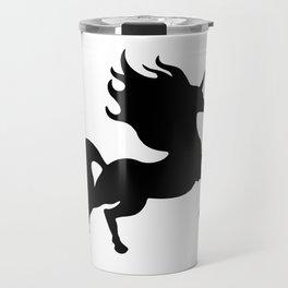 Simple Black Unicorn Travel Mug