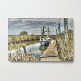 Boat in Marsh 3 Metal Print