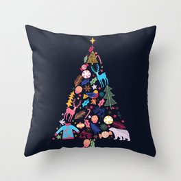 Magic of a christmas tree Throw Pillow