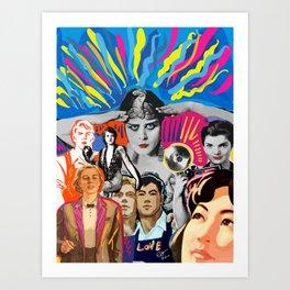 Pop Art Vector Collage Hollywood Stars Posters Graffiti  Art Print