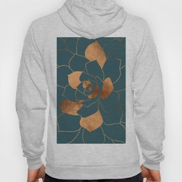 Abstract Metal Copper Blossom on Emerald Hoody