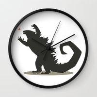 godzilla Wall Clocks featuring Godzilla by Arsyl Art
