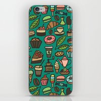 macaroon iPhone & iPod Skins featuring Coffee and pastry  by Julia Badeeva