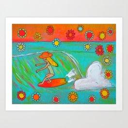 hang 5 lady slider flower power  Art Print