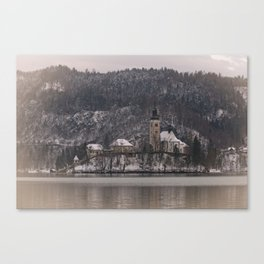 Bled Island Dusted With Snow Canvas Print